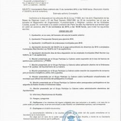 Convocatoria del Pleno del día 11 de noviembre a las 19:00 horas