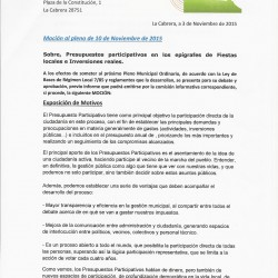 Participa La Cabrera propone que decidan los vecinos en que se invierte el dinero y que se faciliten las gestiones municipales