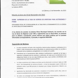 Participa La Cabrera propone suprimir la tasa de licencia de apertura a autónomos y pymes