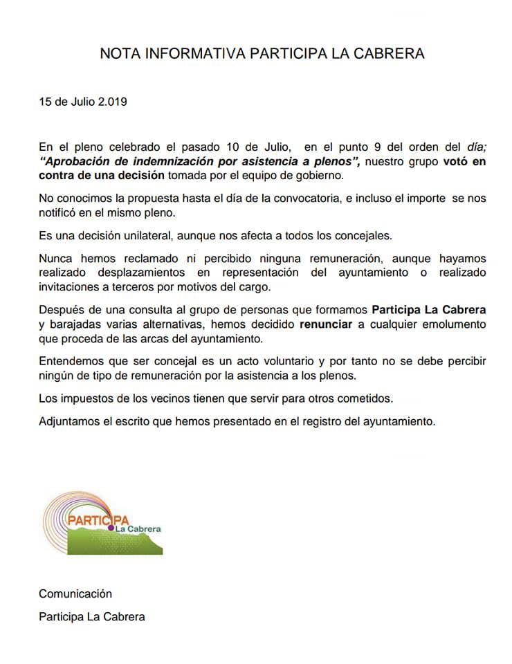 Participa La Cabrera renuncia a «indemnización por asistencia a plenos»